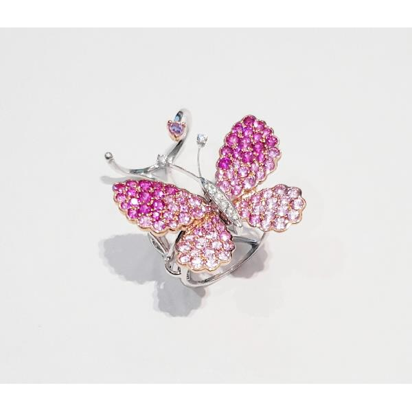 Ring in 18 Kt white gold with Diamonds, Ruby & Pink Sapphire Butterfly