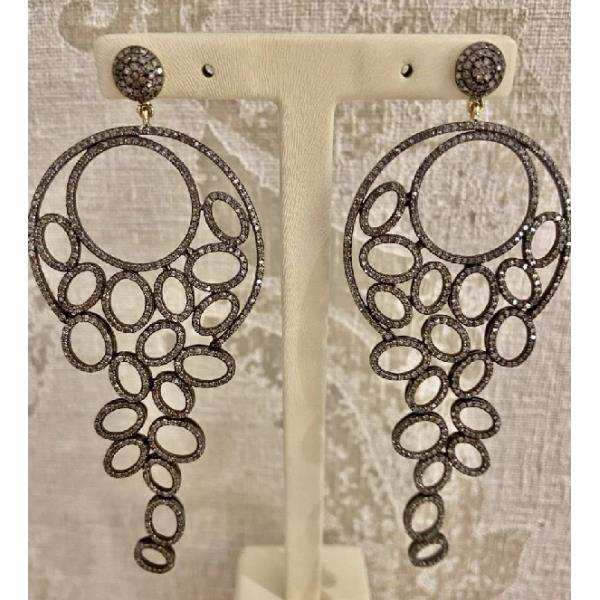 Earrings 18K Gold Silver Diamonds