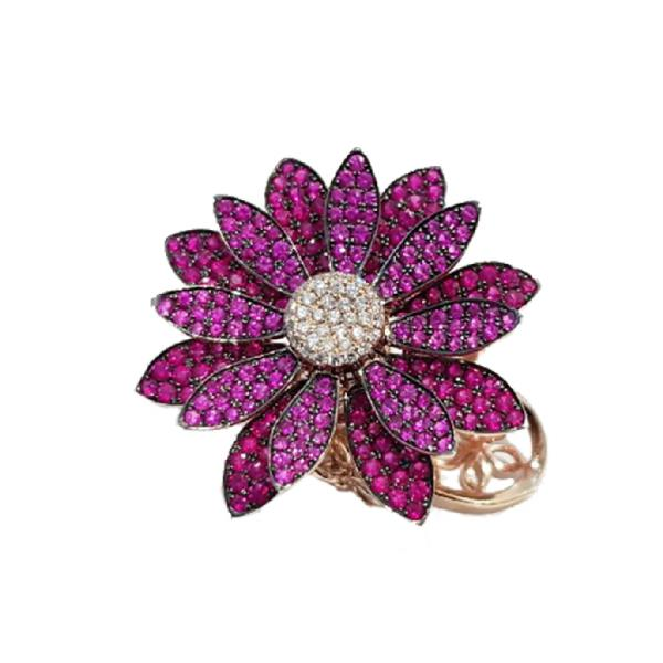 Ring in 18 Kt Rose gold with Diamonds, Ruby Flower