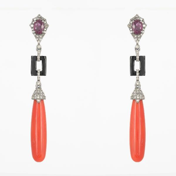 Earrings 18K Gold Silver Diam Coral Ruby Onyx