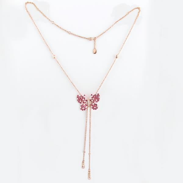 Necklace 18K Rose Gold Diamond Ruby