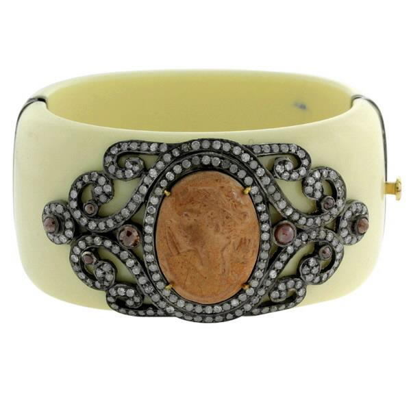 Bangle 18K Gold Silver Diamonds Cameo