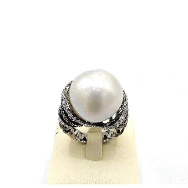 Ring 18Kt White Gold Diamonds Pearl