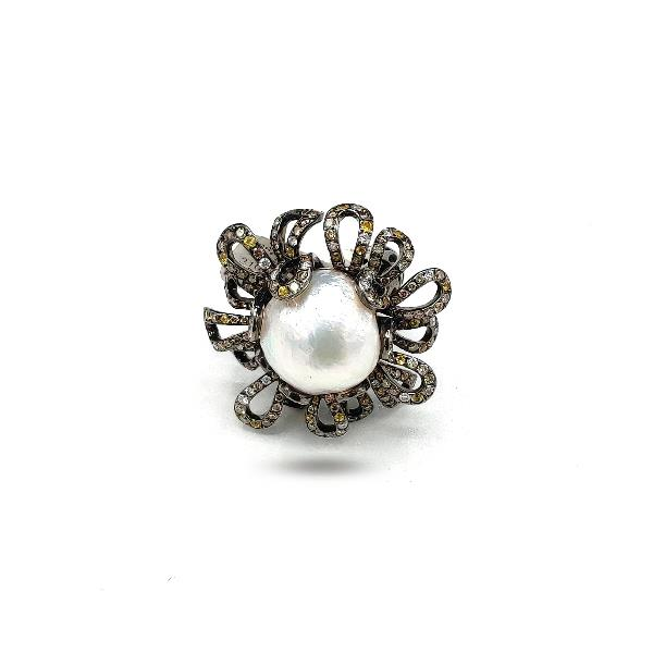 Ring 18Kt White Gold Diam Tsa Pearl Sap