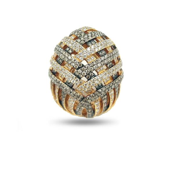 Ring 18Kt Rose Gold Wh&Br Diamonds