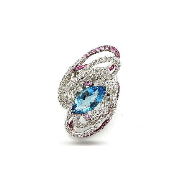 Ring 18Kt White Gold Diamonds Sapp Aquam