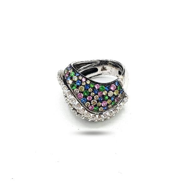 Ring 18Kt White Gold Diam Tsav Sapph