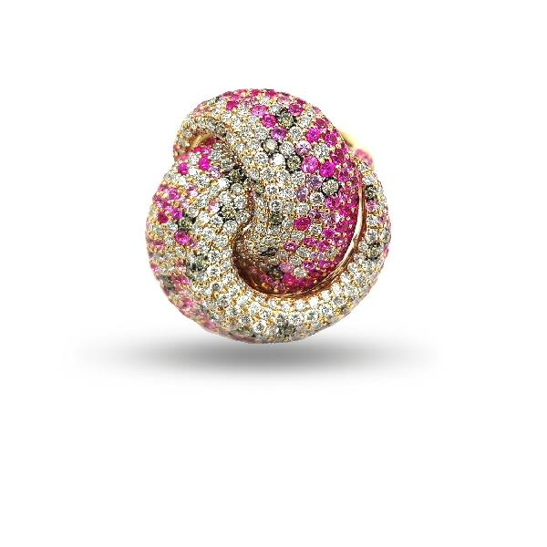 Ring 18Kt Rose Gold Diamonds Sapphire