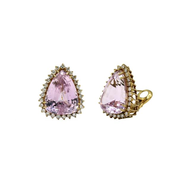 Earrings 18K YG Diamond Kunzite