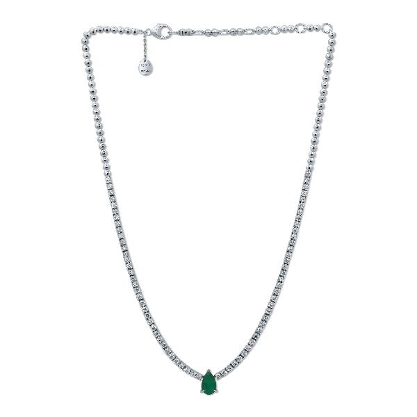 Necklace 18K White Gold Diamond Emerald