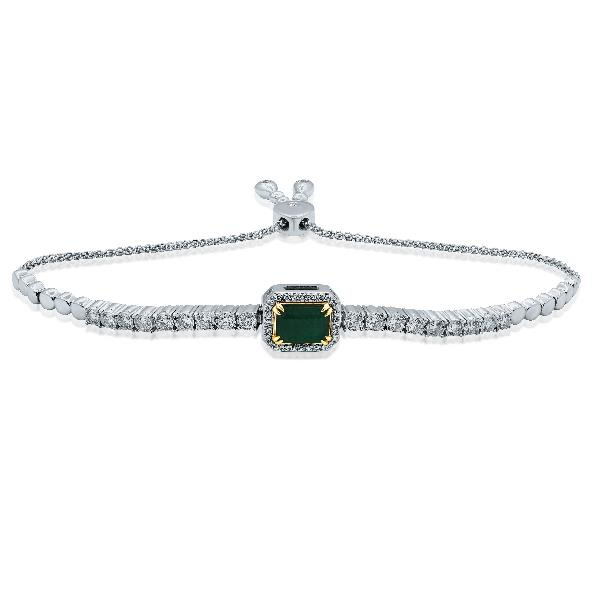 Bracelet 18K YW Gold Diamond Emerald