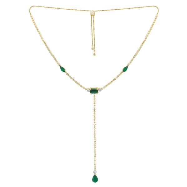 Necklace 18K Yellow Gold Diam Emerald