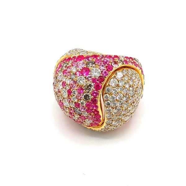 Ring 18Kt Rose Gold Wh&Br Diamonds Sapph