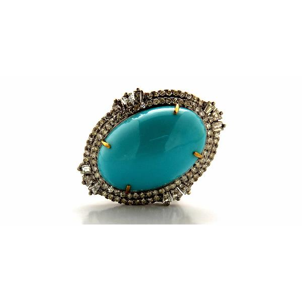 Ring 14K Gold Silver Diam Turquoise oval