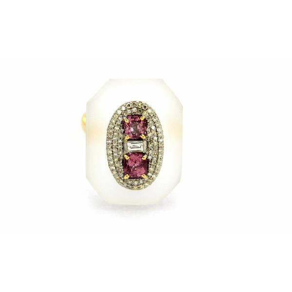 Ring 14K Gold Silver Diam Spinel Crystal