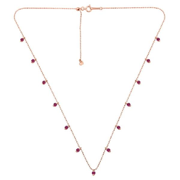 Necklace 18K Rose Gold Rubies