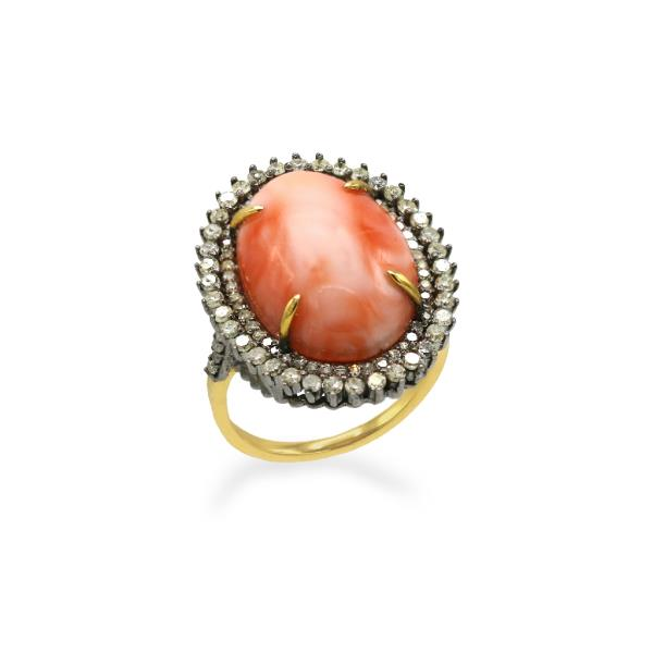 Ring 14K Gold Silver Diam Coral pink