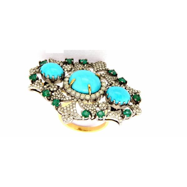 Ring 14K Gold Silver Diam Emer Turquoise