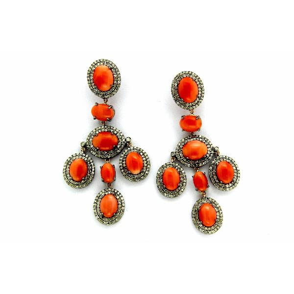 Earrings 14K Gold Silver Diam Coral pink