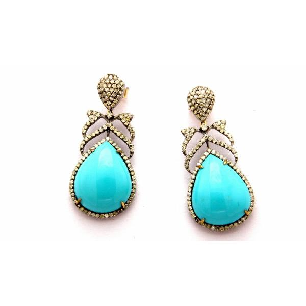 Earrings 14K Gold Silver Diam Tourquoise