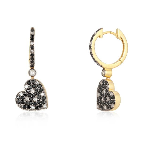 Earrings 18K Gold Silver Diam Blk Spinal