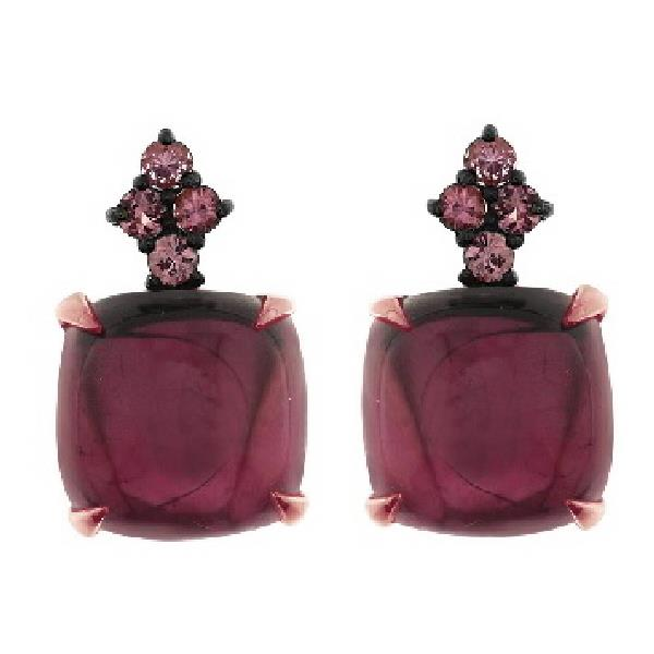 Earrings in 18 Kt rose gold with Amethyst & Pink Sapphire