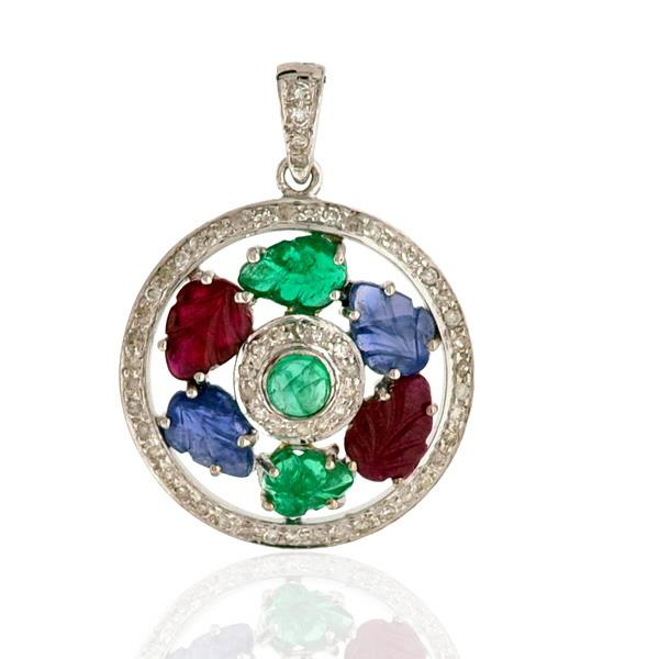 Pendant Gold 18 Kt Diamonds Esm Sapphires Ruby