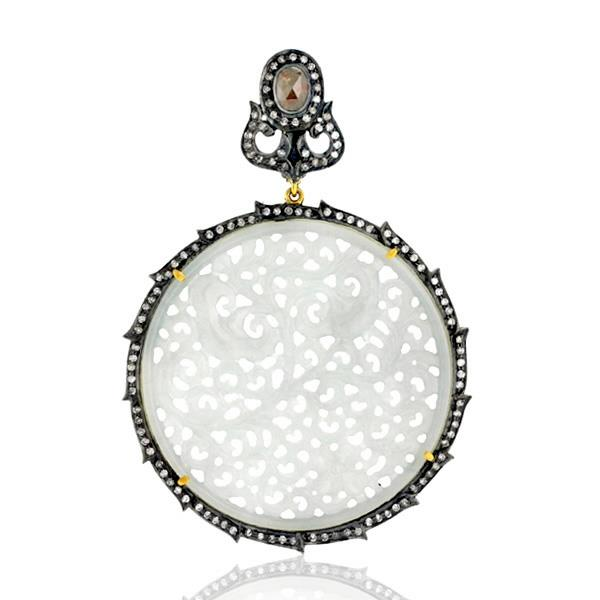 Pendant Gold 18 Kt Diamonds Silver