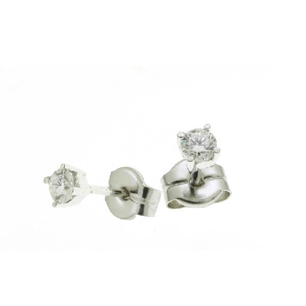Earrings in 18 Kt White Gold and Diamonds 4 prong