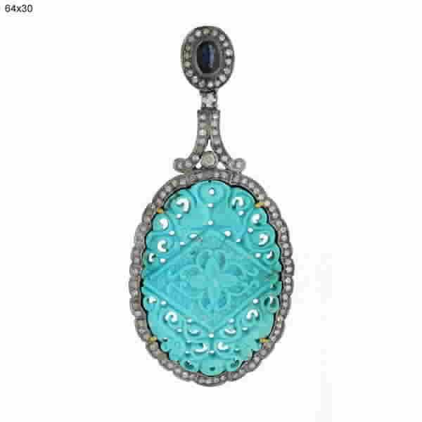 Pendant Gold 18 Kt Diamonds Silver Sapphires