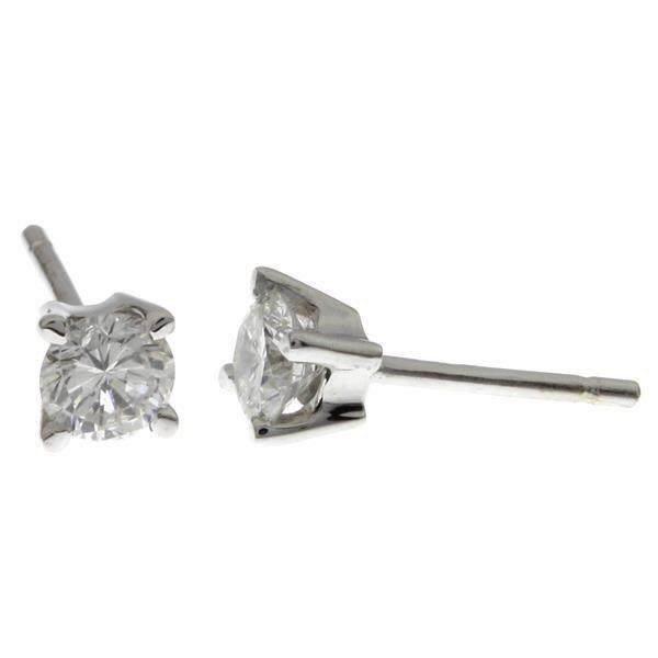 Earrings White Gold 18Kt Diamonds 4 prong