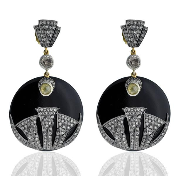 Earrings Gold 18 Kt Diamonds Silver