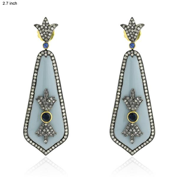 Earrings Gold 18 Kt Diamonds Silver Sapphires