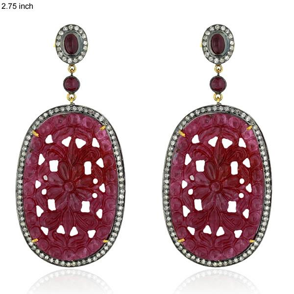 Earrings Gold 18 Kt Diamonds Silver Ruby