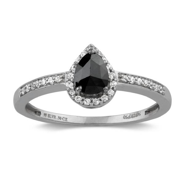 Ring in 18 Kt White Gold with Diamonds Black and white