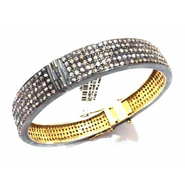Bangles Gold 14 Kt Diamonds Silver
