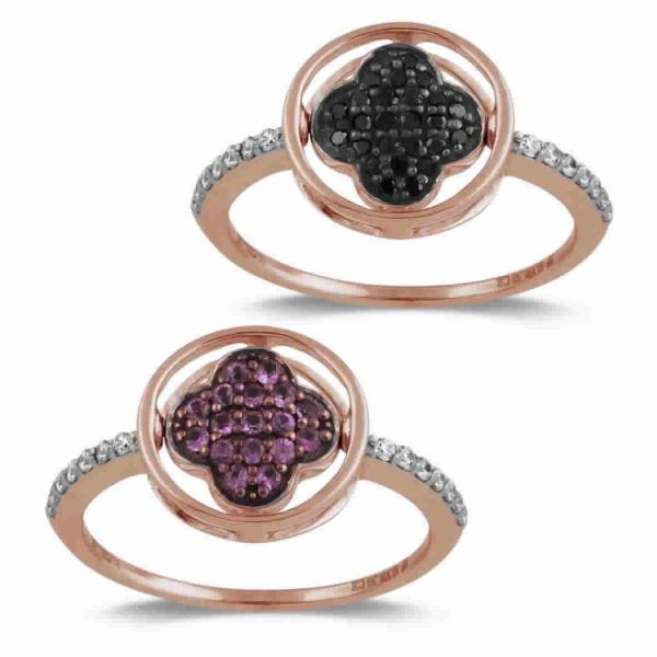 Ring in 18 Kt Rose Gold with Diamonds Black and White Sapphires rose