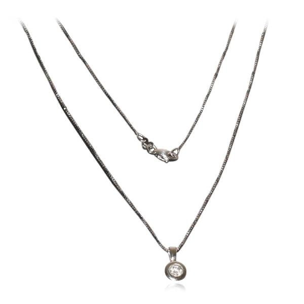 Pendant with Chain White Gold 18 Kt Diamonds Chatón