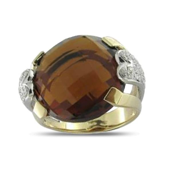 Ring Gold 18Kt Diamonds Stone of Color