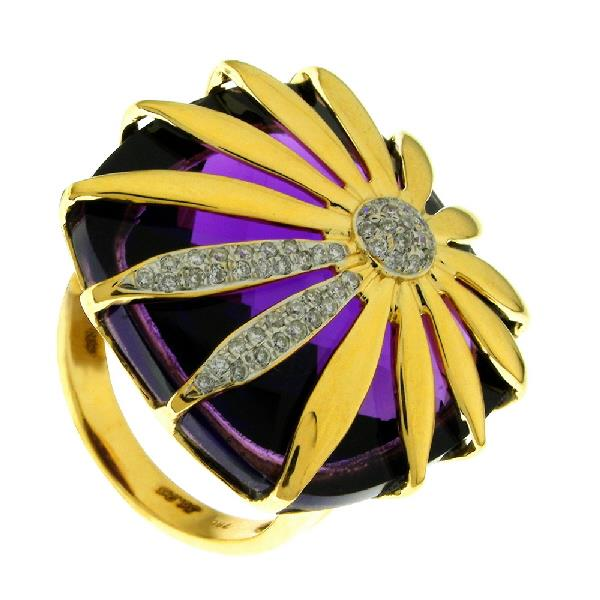 Ring in 18 Kt Yellow Gold with Diamonds Amatista