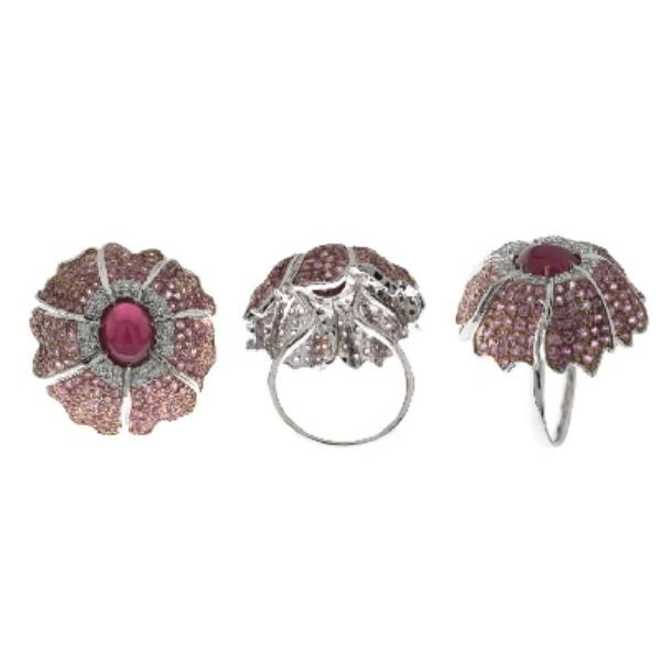 Ring White Gold 18 Kt Diamonds, Ruby, Sapphires
