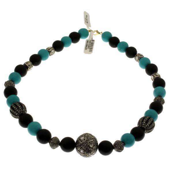 Necklace Silver Diamonds Turquoise Onyx mate